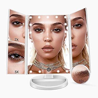 FASCINATE Kosmetikspiegel mit Licht, Spiegel mit LED Beleuchtung und 2X/3X/10X Vergrößerung und 3 Fach Schminkspiegel, Makeup Spiegel 180° Drehbarer Vergrößerungsspiegel