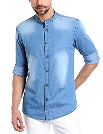 Dennis Lingo Men's Solid Slim Fit Casual Shirt (AZ503_MediumBlue_XXL_Medium Blue_XXL)