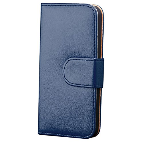 iCues Apple iPhone SE / 5S / 5 |  Wallet Tasche Blau | [Display Schutzfolie Inklusive] Leder - Imitat Book Klapphülle Schutz Etui Handytasche zum aufklappen Flip Case Schutzhülle Booklet Hülle Wallet