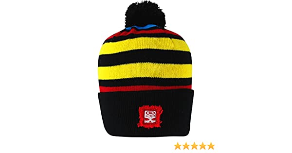 168bcd55bae Men s Extreme Striped Knitted Thermal Winter Bobble Beanie Hat (Black