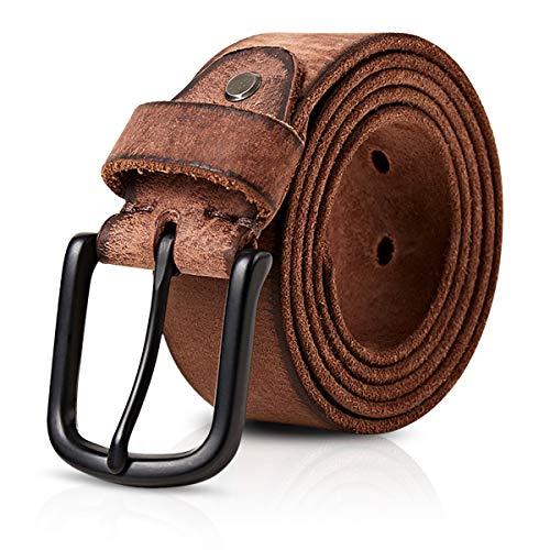 DORRISO Vintage Cinturón Hombre de Cuero 100% Cuero Genuino Cinturones para Jeans Casual 125cm Caqui