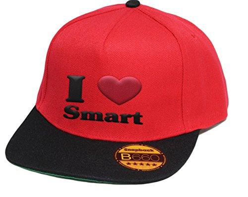 i-love-smart-snapback-cap-5-panel-redblack