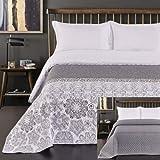 DecoKing 77191 Tagesdecke 170 x 210 cm stahl silber weiß anthrazit Bettüberwurf zweiseitig white steel silver Steppung Alhambra