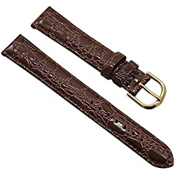 16mm Calf leather watch strap band in croc-design brown with buckle in gold