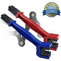 Motocicleta y bicicleta cadena cepillo de limpieza para bicicleta de montaña de limpieza mantenimiento herramienta paquete de 2(rojo, azul)