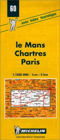 Carte routière : Le Mans - Chartres - Paris, 60, 1/200000