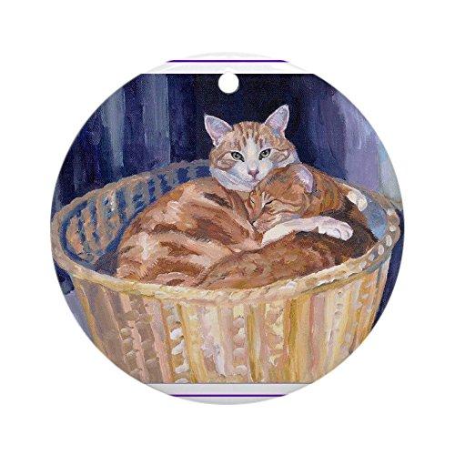 Cafepress–due gatti in un cestino ornamento (rotondo)–round holiday christmas ornament