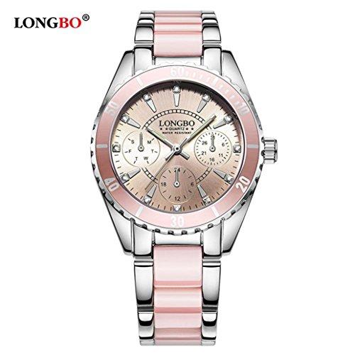 Upxiang Frauen Nette Rosafarbene Uhr Wasserdichte Leuchtende Quarz Damen Uhr Luxuskeramik und Legierungs Armband Armbanduhr (A)