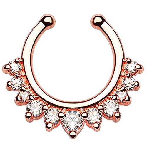 Piercingfaktor Universal Fake Piercing Septum auch für Tragus Helix Ohr Nase Lippe Brust Intim - Hoop Ring Roségold mit Strass Steinen
