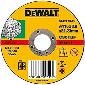 DEWALT DT42273-XJ – Disco de corte plano para piedra 115mm x 3 x 22.23mm