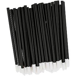 50x Schwarz Einweg-Lippenpinsel Glanz-Stab-Applikatoren Lippenstift Make-up-Tool