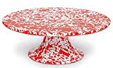 Enamelware Cake Stand - Red Marble