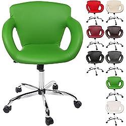 TRESKO® Design Taburete giratorio Silla de oficina, reposabrazos y mecanismo basculante, en 8 colores diferentes (Verde)