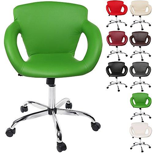 Design Rollhocker Arbeitshocker Hocker Drehhocker Kosmetikhocker Praxishocker Loungesessel Loungehocker Drehstuhl mit Lehne, Armlehne und Wippmechanik, 8 verschiedene Farben, verchromt, 360° frei drehbar, Barhocker Barstuhl mit Sitzhöhenverstellung von 47 - 61cm (Grün)