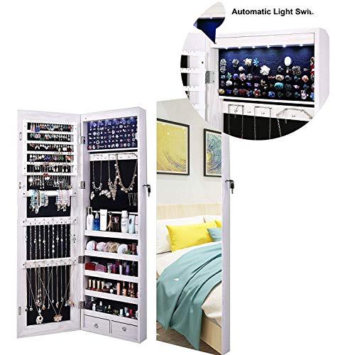 Armario Joyero,AOOU Amario para Joyas,6 luces LED,Montado en la pared Armario Joyero Con Espejo, Pantalla Completa,Espejo Grande,Espejo de Cuerpo Entero, Espejo de Gran Capacidad,Espejo Joyero(Blanco)