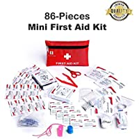 Mini First Aid Kit, 86 Pieces Mini Small First Aid Kit includes Emergency Foil Blanket, CPR Face Mask,Security Whistle for Home,Vehicle,Travel,Office,Workplace,Child Care, Hiking,Survival & Outdoor …