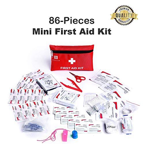 Mini Erste Hilfe Kit, 86 Stück Mini Kleine Erste-Hilfe-Kit enthält Notfall Folie Decke, CPR Gesichtsmaske für Fahrzeug, Reisen, Büro, Wandern, Outdoor