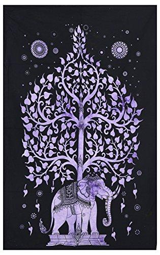 World breit Kart indischen Baum des Lebens Baumwolle Tie Dye Baumwolle Elefant, klein Poster Wandbehang Tapisserie Größe 76,2x 101,6cm Ethnic Home Decor Überwurf Hippie Bohemian Wandteppiche Dekorative Decke Yoga Matte Elefant Karte Poster
