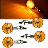 Sedeta Moto Clignotant Voyants voyants lumineux clignotant Feu orange 4pcs 12V Universal Energy Saving Moto Lampe d'éclairage de signalisation de signalisation 12V Amber Indicators Chrome Circular