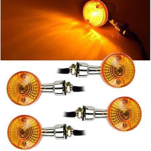 Gulin 4 Stück Motorrad Blinkerlampe drehen 12V Bernstein Indikatoren (Davidson Harley Licht Schatten)