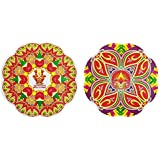 DollsofIndia Pair Of Rangoli Stickers With Diya Print - Dia - 9 Inches Each