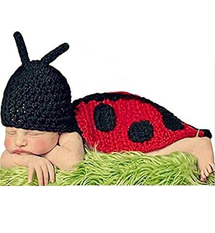 AKAAYUKO Bébé Fait Main Crochet Tricoté Photo Photographie Prop (Coccinelle)