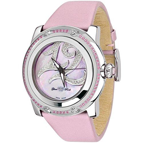 Glam Rock Women's Limited Edition Diamond 46mm Pink Leather Band Steel Case Swiss Quartz Watch GR80009-M