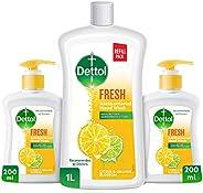 Dettol Fresh Liquid Hand Wash Refill Pack - Twin Pack 200ml + 1L Liquid Hand Wash