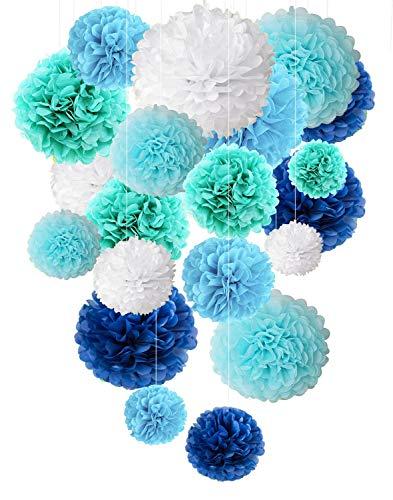 idenpapier Blumen Pompons Hochzeit Party Dekor - blau ()