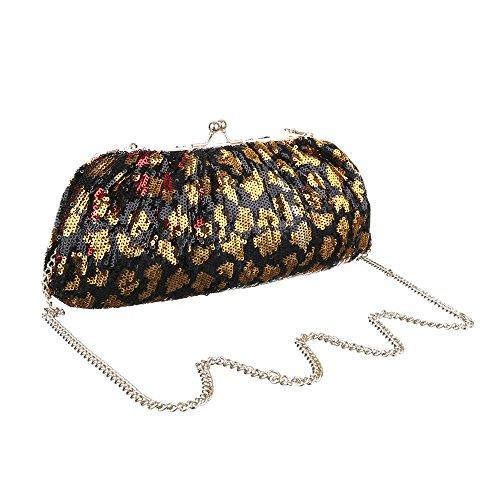 Damen Tasche, Abendtasche, Kleine Schultertasche Clutch, Synthetik, TA-K526 Schwarz Gold