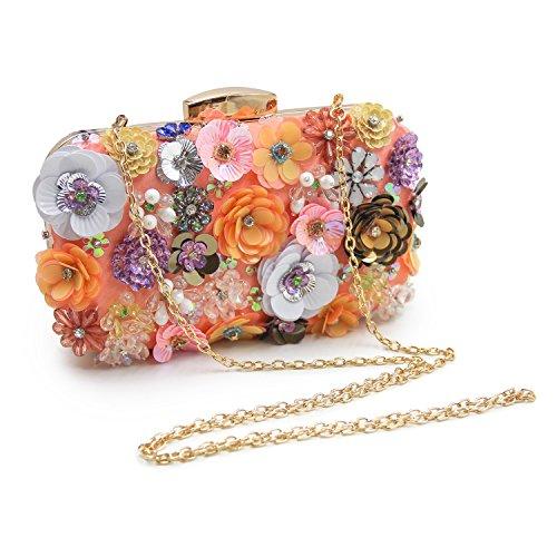 YAN Hand Clutch Taschen Antik Blumensamen/Perlen/Pailletten Soft Clutch Abendtasche Exquisite Seed Bead Pailletten Blatt Abend Clutch Handtasche Geschenkideen -