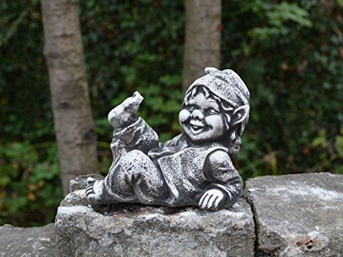 Lustiger kleiner Gnom I Troll Wichtel Fantasiefigur aus Steinguss frostfest - 3