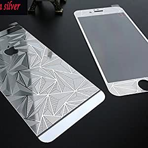 ScratchfreeZone Electroplated Mirror Finish Glossy Brushed Metal Effect Coloured 3D Diamond Front & Back Tempered Glass For Apple iPhone 5,5S,5G