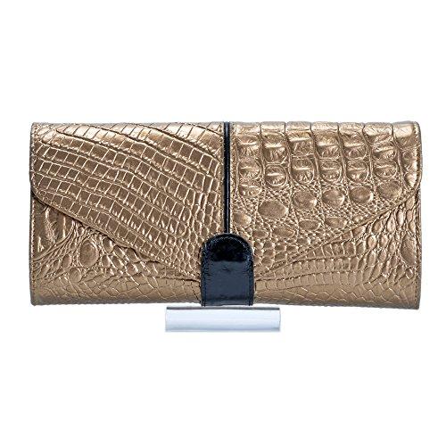 Damen Dinner Party Kette Clutch Leder Krokodil Muster Schulter Messenger Bag Wristlets Wallet,Gold-M