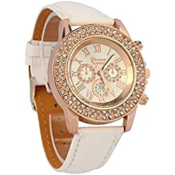 Vovotrade® Vogue Women Ladies Fashion Crystal Dial Quartz Analog Leather Bracelet Wrist Watch White