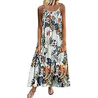 Women's Casual Daily Women Vintage Bohemian Print Floral Sleeveless O-Neck Straps Maxi Dress (Blue, L)