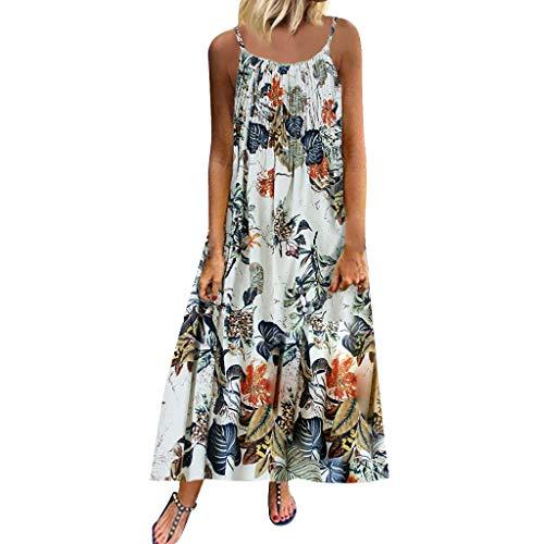 MuSheng Damen Kleider Frauen Sommer Kleid Aus Schulter Ärmelloses Kleid Prinzessin Ärmellos Trägerlos Beach Vintage Bohemian Print Floral ärmellose O-Neck Straps Maxi-Kleid -