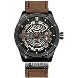 Curren 8301 Men's Watch with Quartz Leather Band Date Display Waterproof Watch - Brown Black