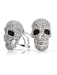 Bling Jewelry Gothic Punk Rock Skull Pave CZ Stud Omega Back earrings Rhodium Plated 18mm