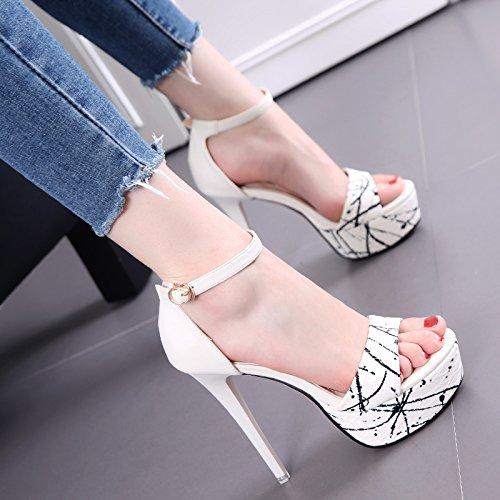 Wasserdichte Tisch mit Bare Toe Sandalen Sommer Fashion Heel High-Heels Schuhe Schuhe Gezeiten White