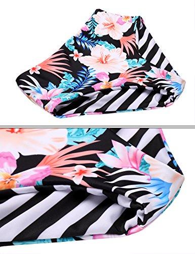 Ekouaer Damen Bikini-Set Blumendruck Bikini Träger Badenanzug Gedruckt Zweiteilig Schwimmanzug RotBlau455