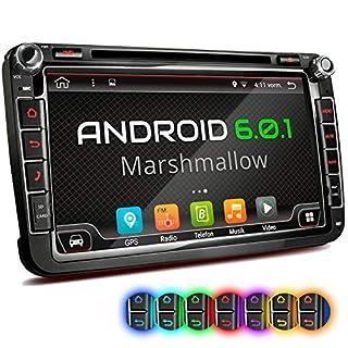 XOMAX XM-2DA801 Autoradio mit Android 6.0.1 passend für VW SEAT Skoda mit Navigation I DVD CD I Bluetooth I Support: WiFi DAB+ OBD2 I 8