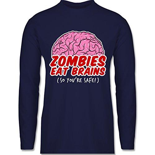 Shirtracer Halloween - Zombies Eat Brains - So You´re Safe! - Herren Langarmshirt Navy Blau