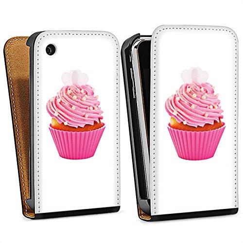 Apple iPhone 5s Housse Étui Protection Coque Muffin Gâteau Cake Sac Downflip noir
