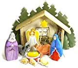 InTemenos Nativité Set de 11 Figurines de Nativité en Bois : Jésus bébé, Ange, Marie, Joseph, Animaux, Berceau, Forest Lodge – Famille Sainte et Creche