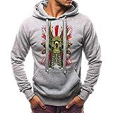 Xmiral Männer mit Kapuze Sweatshirt beiläufige Lange Hülsen-Schädel-Druck Outwear (4XL,Grau)