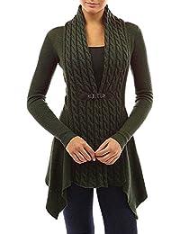 Minetom Mujer Otoño Casual Color Sólido Dobladillo Irregular Cardigan Con Hebilla Moda Manga Larga Chaqueta De Punto Suéter Abrigo