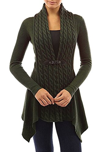 Eine Gestickte Strickjacke (Minetom Damen Mode Geschnittene Schlichte Strickjacke Cardigan Beiläufige Langarm Irregular Kabel Knit Mäntel Pullover Oberbekleidung Grün DE 44)