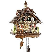 Reloj de cuco de madera real de Eble, mecanismo de cuarzo con pilas, con