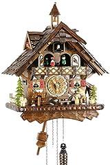 Idea Regalo - Eble 22305, orologio a cucù, in vero legno, alimentato a batterie, a quarzo, suona il richiamo del cuculo, a cinque foglie, 42 cm